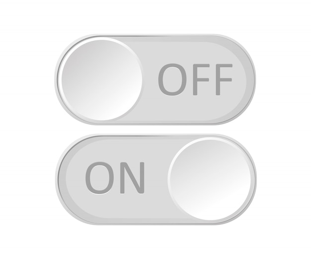 Icon on and off toggle switch button