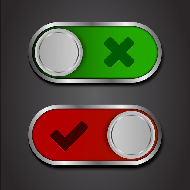 Icon on and off toggle switch button.