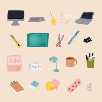 アイコンオフィス機器ベクトルセット作業中または勉強中の概念ベクトルイラスト手描き