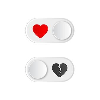 赤いハートと壊れたアイコンのオンとオフの切り替えスイッチボタン。