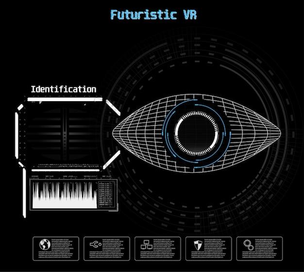 파란색 아이콘입니다. 디지털 눈 hud ui. . 의학 그림. 눈 아이콘입니다. 미래 기술 스타일. 식별 시스템 스캔.
