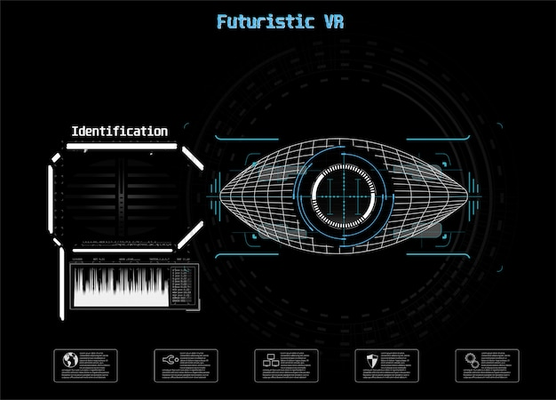 파란색 아이콘입니다. 디지털 눈 Hud Ui. . 의학 그림. 눈 아이콘입니다. 미래 기술 스타일. 식별 시스템 스캔. 프리미엄 벡터