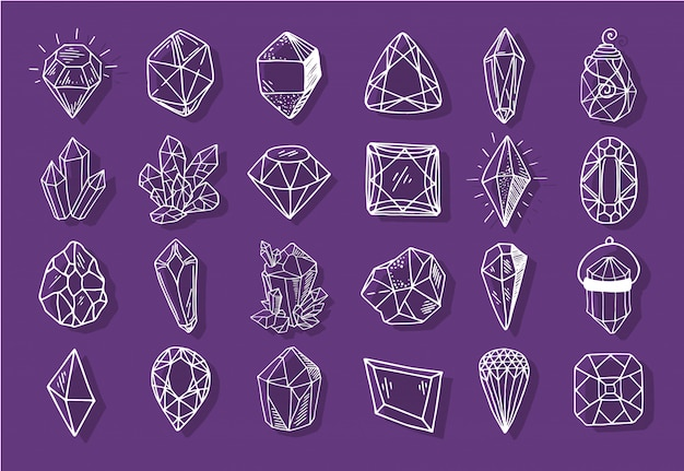 Icon outline collection - crystals or gems, set with jewelry gemstones, diamonds