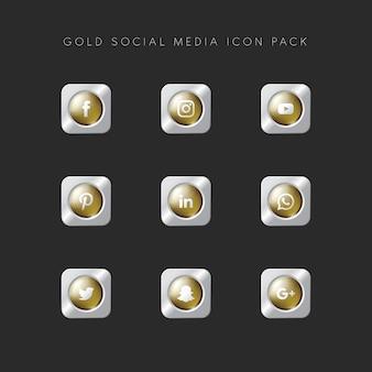 Современная популярная социальная медиа icon pack gold version