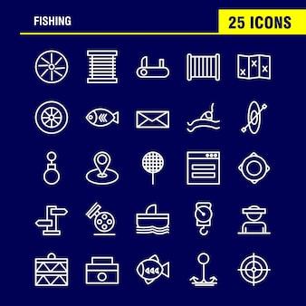 Рыбалка линия icon pack для дизайнеров и разработчиков.