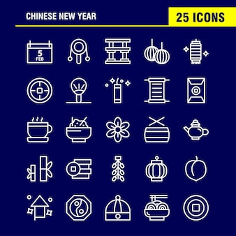 Китайский новый год линия icon pack