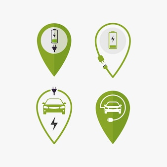 Icon pin point charging for electric vehicle charging location illustration