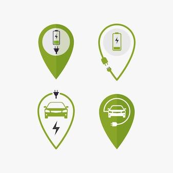 전기 자동차 충전 위치 그림에 대한 아이콘 핀 포인트 충전