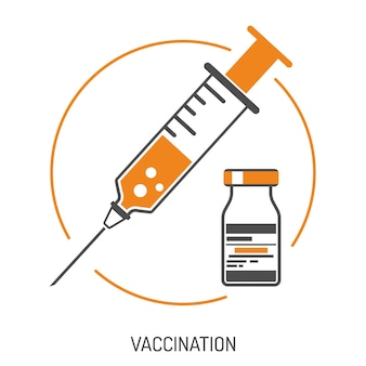 Icon plastic medical syringe with needle and vial in flat style, concept of vaccination, injection, isolated vector illustration