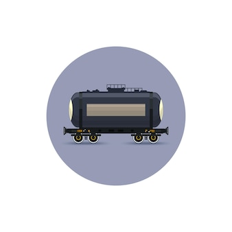 Icon  railway car the tank for transportation of liquid and loose freights, oil, the liquefied gas, milk, cement, flour, water, vector illustration