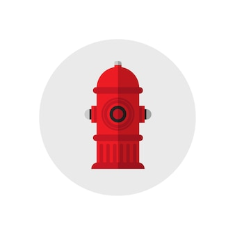 Иконка красный пожарный гидрант. векторные иллюстрации. плоский стиль.