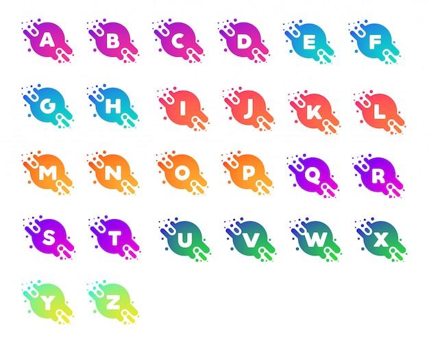 Icon set abjad modern gradient background logo
