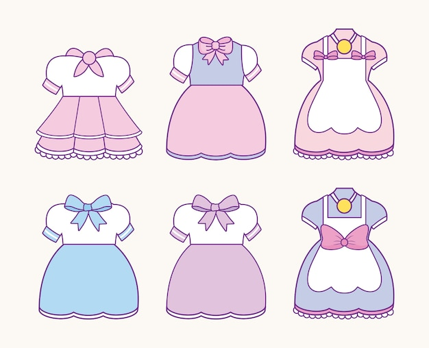 Icon set of anime womans costumes
