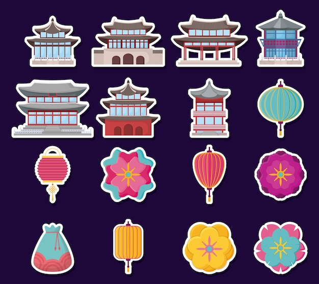 Icon set of asia culture