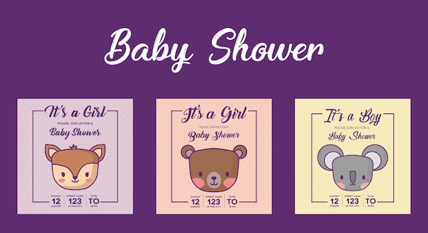Icon set of baby shower invitations with cute animals over purple background, colorful design. vecto