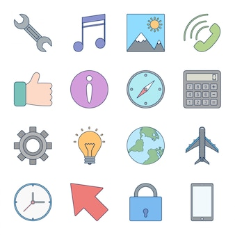 Icon set of basic ui