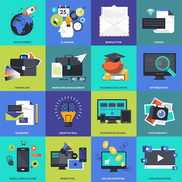 Icon set for business, management, technology and finances