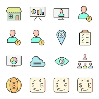 Icon set of business