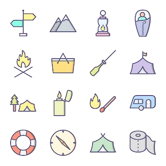 Icon set of camping