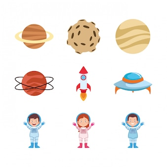 Icon set of cartoon astronauts and planets
