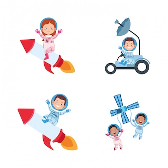 Icon set of cartoon astronauts on space vehicles