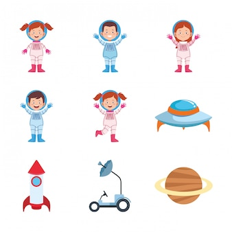 Icon set of cartoon astronauts