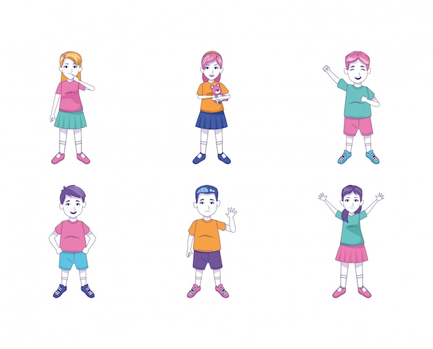 Icon set of cartoon kids standing