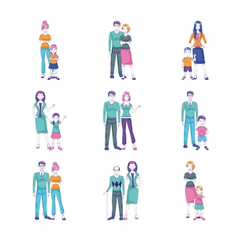 Icon set of cartoon people standing with kids