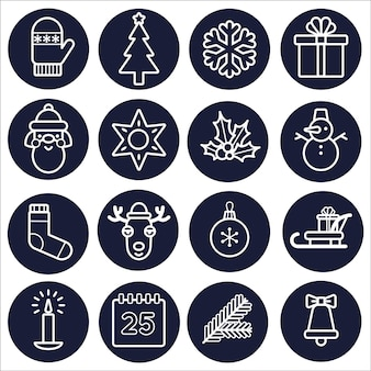 Icon set christmas. white outline isolated on a dark round background. vector line art.