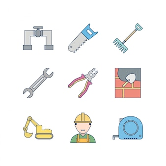 Icon set of construction for personal and commercial use