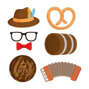 Icon set design, oktoberfest germany festival and celebration theme