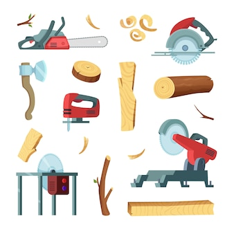 Icon set of different tools of wood industry production