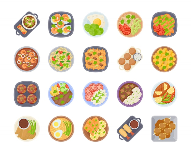 Icon set of different types of dinner food table closeup on the plates, top view on classic dinner dishes different countries of the world. food from national cuisines on a table. view from above.