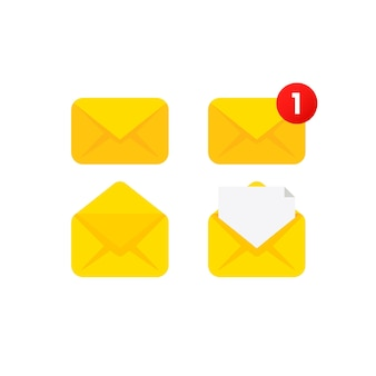 Icon set document enclosed in envelope
