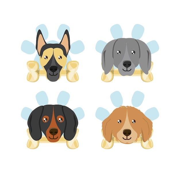 Icon set of dogs with bones