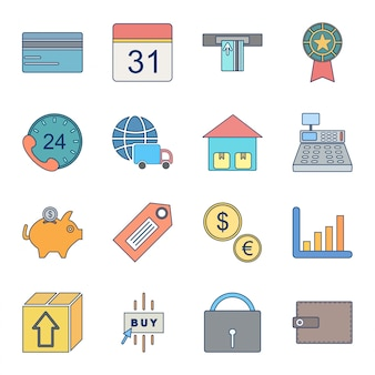 Icon set of e-commerce for personal and commercial use