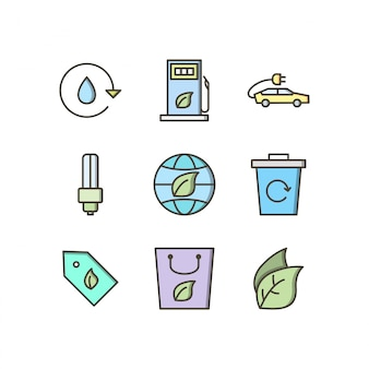 Icon set of eco for personal and commercial use