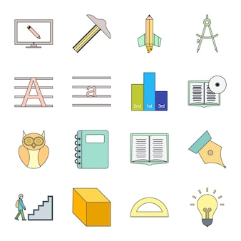 Icon set of education