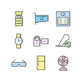 Icon set of electronic devices for personal and commercial use