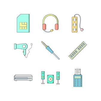 Icon set of electronic devices