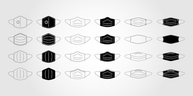 Icon set of face mask, mouth guard, mask, medicine vector icon illustration