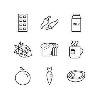 Icon set of food