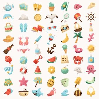 Набор иконок для пляжного отдыха симпатичные красочные для знакового тура, путешествующего на футболке