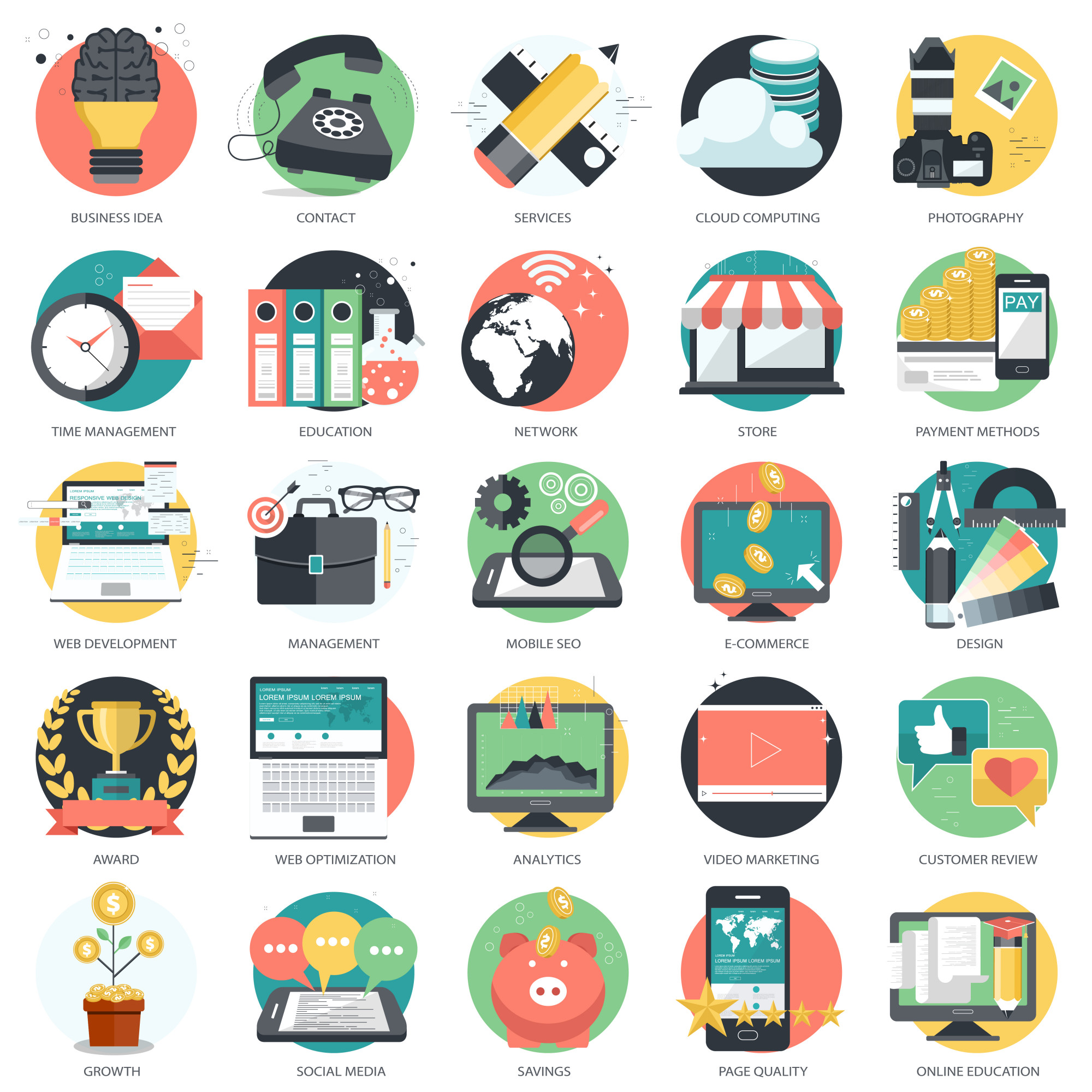 Icon set for business and technology
