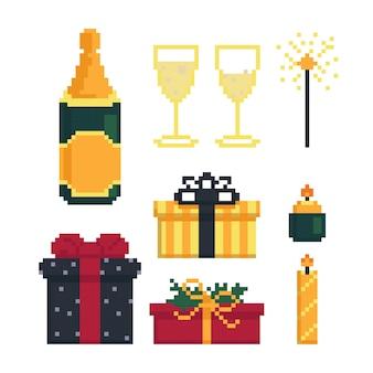 Набор иконок для рождественской вечеринки, элементы для праздника, векторные иллюстрации в стиле пиксель-арт
