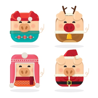 Icon set four pig and merry christmas