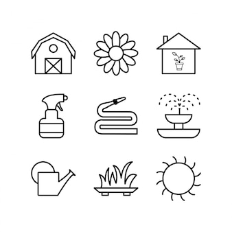 Icon set of gardening