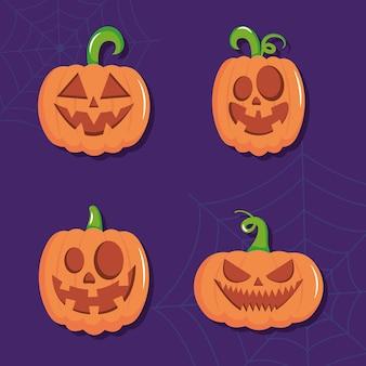 アイコンは、紫色の背景の上に幸せなハロウィーンと怖いカボチャを設定します