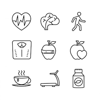 Icon set of health