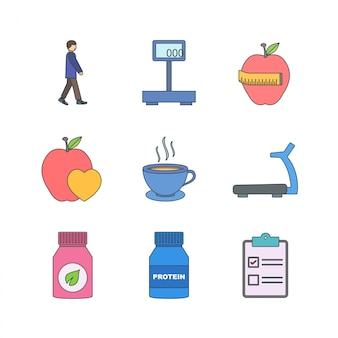 Icon set of health